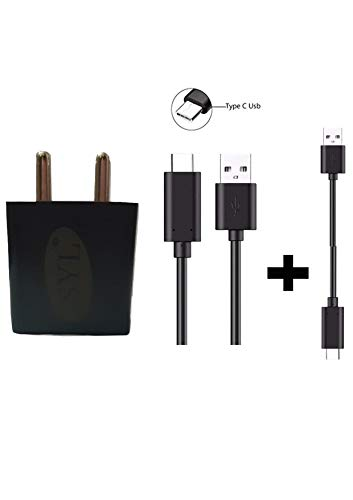 SYL 2 Ampere Mobile Charger Adapter with 1 Meter USB C Type Fast Charging Data Cable and Turbo Cable Compatible with Vivo V12 Pro