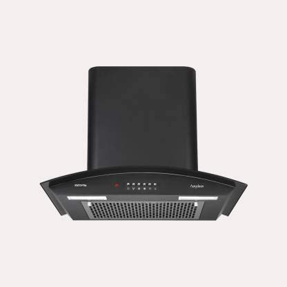 kutchina Autoclean Vista Chimney 60 cm 1000 m3/hr Push Button Auto Clean Wall Mounted Chimney (Black 1000 CMH) (24 in)