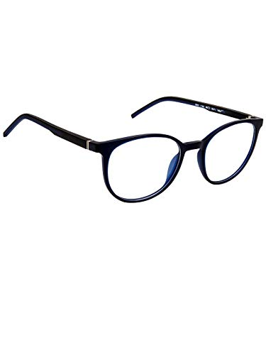 Cardon Round Spectacles Frame With Anti-glare Blue Ray Cut Zero Power Glasses for Eye Protection from Computer Tablet Laptop Mobile/Eyeglass for Unisex [Blue]