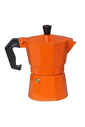 3d Creations Aluminium Polished Filter Degree Coffee Machine, 6 Cup (Orange, 300 ml)