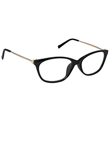 Cardon Cateye Spectacles Frame With Anti-glare Blue Ray Cut Zero Power Glasses for Eye Protection from Computer Tablet Laptop Mobile/Eyeglass for Women [Black]