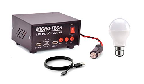 ERH India 200 Watt Mini Car Inverter with Two AC Outputs and Two USB Ports, Charging Cable and 9 Watt LED Bulb