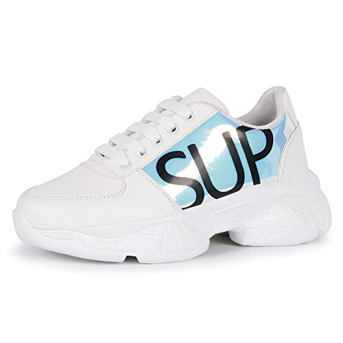 FASHIMO Casual Sneakers Shoes for Women's and Girls (Sup White, 8)