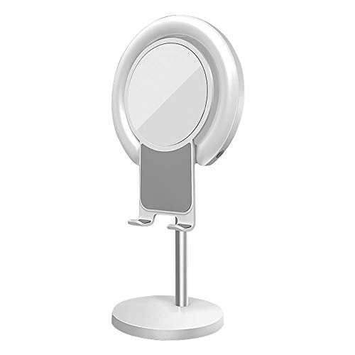 Honelife LED Ring Light Desktop Makeup Lighting with Stand Big Mirror and Cellphone Holder Soft Beauty Light Effect Ringlight for Selfie Video Shooting Live Streaming White
