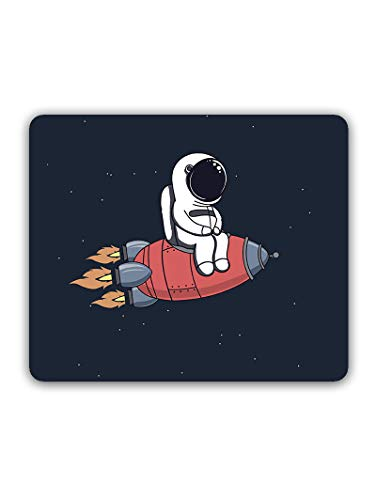 Madanyu Designer Mousepad Non-Slip Rubber Base for Gamers - HD Print - Astronaut On Rocket Art