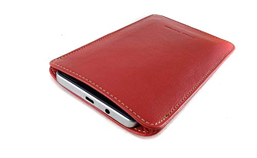 Chalk Factory Genuine Leather Mobile Case, Pouch for Samsung Galaxy M Series (M20, Red)