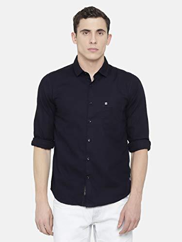 urbantouch Navy Blue Linen Shirt