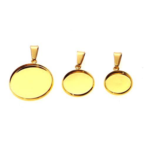 HEALLILY 20pcs Round Bezel Blanks DIY Golden Jewelry Trays Stainless Steel Cabochon Pendant Trays Handmade Jewelry Pendants for Necklace Bracelet Chain