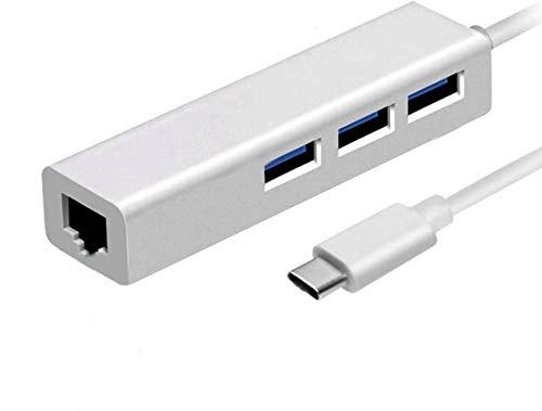 Microware 3-Port USB-C to USB 3.0 Portable Data Hub 1000 Mbps 1 Gigabit Network Adapter Ethernet Port, Compatible MacBook Pro 2016, ChromeBook, XPS More (White)