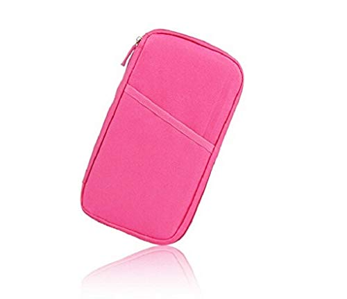 Bluwings Multi-Functional Travel Passport Pouch Mobile Credit Card Ticket Organizer Holder for Men and Women (Pink)