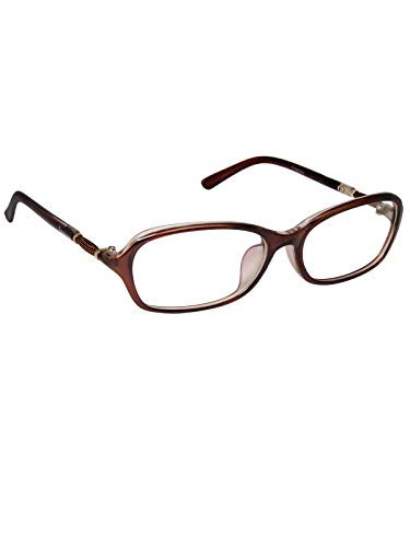 Cardon Rectangular Spectacles Frame With Anti-glare Blue Ray Cut Zero Power Glasses for Eye Protection from Computer Tablet Laptop Mobile/Eyeglass for Unisex [Brown]