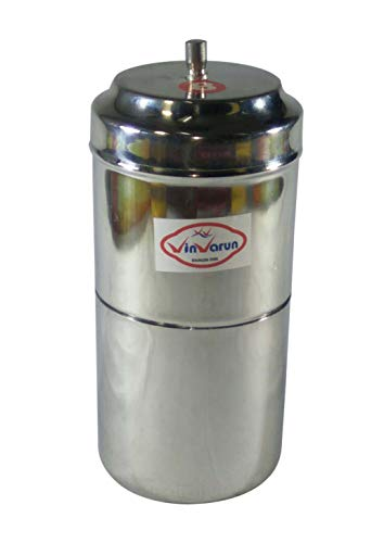 Vinvarun Stainless Steel Filter Coffee Drip Maker, Silver (200 ML)