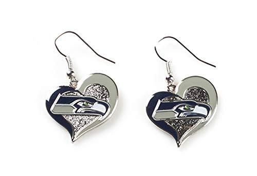 """aminco Sports Team Seattle Seahawks Logo 3/4"""" Swirl Heart Dangle Earring Set"""