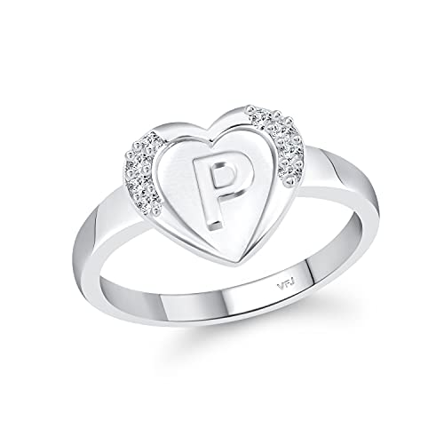 Fashion Vighnaharta cz alloy Rhodium plated Valentine collection Initial '' P '' Letter in heart ring alphabet collection for women and Girls