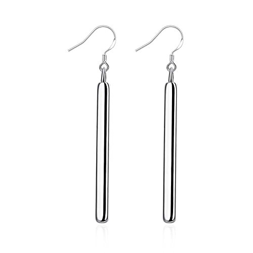 INOD Fashion Silver Plated Straight Bar Earrings (Silver)
