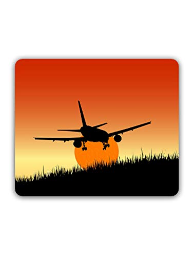 Madanyu Designer Mousepad Non-Slip Rubber Base for Gamers - HD Print - Plane and Sunset Art