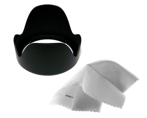 Sony HDR-CX675 Pro Digital Lens Hood (Flower Design) (58mm) + Stepping Ring 46-58mm + Nwv Direct Microfiber Cleaning Cloth.