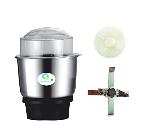 """QemiQ Retail® Stainless Steel Attachment Grinding, Spices, Dals, Roasted Coffee Beans- Chutney""""Mixer Grinder jar""""-+extre Motor Coupler+Medium jar Blade"""