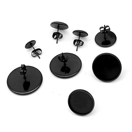 HEALLILY 10 Pcs Blank Black Earrings Base Bezel Stainless Steel Earrings Tray Stud for DIY Earrings Jewelry Making