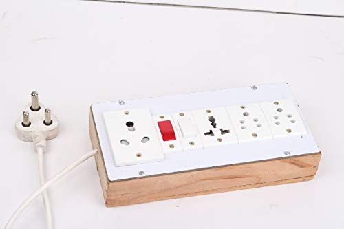 BAHUL PVC Board Contains 4 Anchor Sockets (15amp 13 amp 5amp.),with 4 Metre Wire.(White) 5amp Anchor Plug