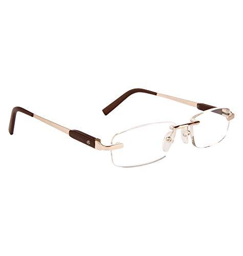 Esperto Readers Angel Unisex Rimless Spectacle Frames - Gold & Brown