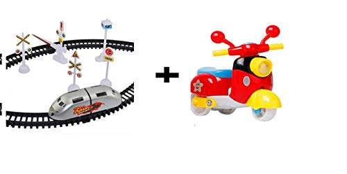 KF Deals High Speed Battery Operated Train Set for Kids and Adults Seat Model with Mini Motorcycle Toy Combo