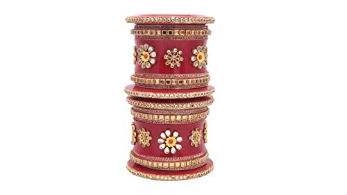 Rajasthani Traditional Handmade Hand Painted unique pattern With Beautiful Latkan Bangle set /Rajwadi Bridal/ Bridal Chuda Set for Girls/Women_A