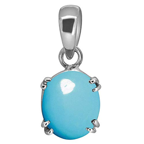 Tirupati Gems 8.75 Ratti Natural Firoza Turquoise Precious Unheated and Untreated Gemstone Silver Pendant for Men and Women