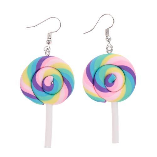 HEALLILY 4Pcs Lollipop Earrings Polymer Clay Rainbow Candy Dangle Drop Earrings Cartoon Ear Jewelry Gifts 1