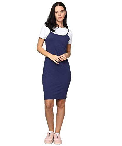 Fashion Fly Cotton Jersey Dungaree with White Top for Women (M, Blue)