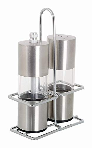 LWVAX® Stainless Steel Salt and Pepper Grinder with Stand (Grinder Set)