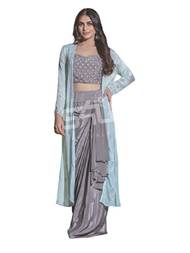 Aradhana Fashion Pvt Ltd Exotic Grey Lycra Fabric Crop Top Skirt with Jacket (XX-Large)
