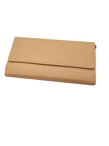 Essart Faux Leather Plain Finish 21cm Long Combination Travel Wallet Cum Ladies Clutch with Button Closure, Mobile Slot, Lead/Lipstick Slot, 10card Slots - Purple