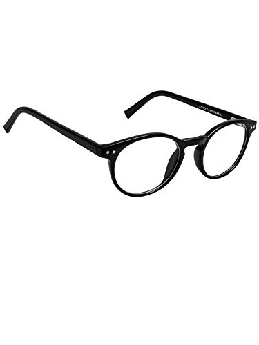 Cardon Round Spectacles Frame With Anti-glare Blue Ray Cut Zero Power Glasses for Eye Protection from Computer Tablet Laptop Mobile/Eyeglass for Unisex [Black]