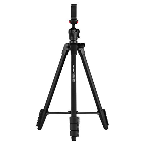 Honeytecs Portable Tripod Aluminum Alloy Selfie Travel Phone Tripod Max. Height 134cm/52.8in Max. Load Capacity 3kg with Ball Head Carrying Bag Shutter Phone Clamp Shutter Clip for Landscape Product