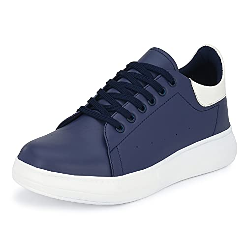 Shoe Island ® Dock-X ™ Trendy Navy Blue Leatherette Trendy Modern Lace Ups Running Casual Shoes Sneakers for Men, 6 UK/India