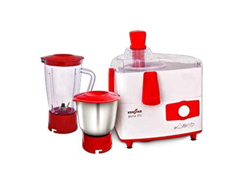 Kenstar Yuva DX 450-Watt Juicer Mixer Grinder with 2 Jars (White & Cherry Red)