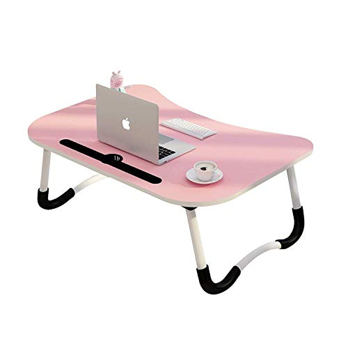 Luxxuro Foldable Laptop Desk Table, Studyble/Dock Stand with Foldable Metal Legs with Mobile Dock Stand (L 60 cm, H 28 cm, W 40 cm) (Pink)