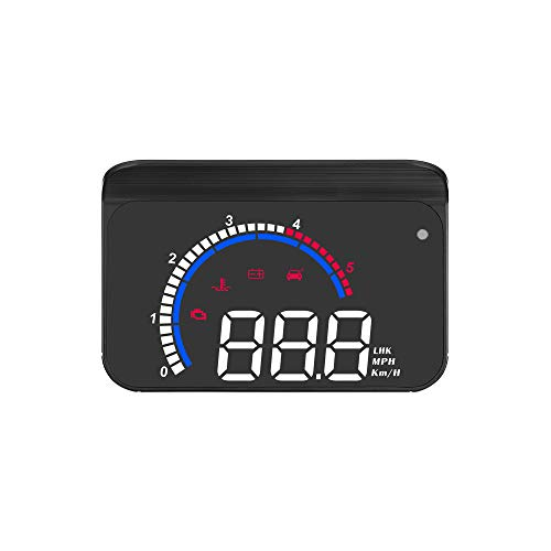 Honelife Car HUD Display, Head Up Display Windshield Projector with Speed, Digital Clock, Overspeed Warning, Mileage Measurement, Water Temperature, Direction, Single Range Display for All Vehicles