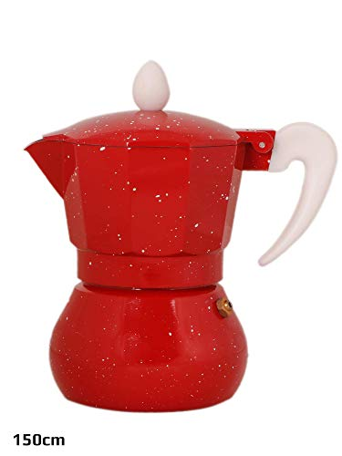 3d Creations Aluminium Polished South Indian Filter Degree Coffee Machine, 3 Cup = 150 ml, Red