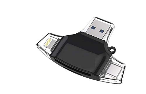 NSinc - 4 in 1 OTG Card Reader, Four Ports : Lightning + Type C + Micro USB + USB Card Reader - Like Iflash, Idisk for iPhone, Ipad, Micro USB, SDHC Lightning Flash Drive (Black/White)