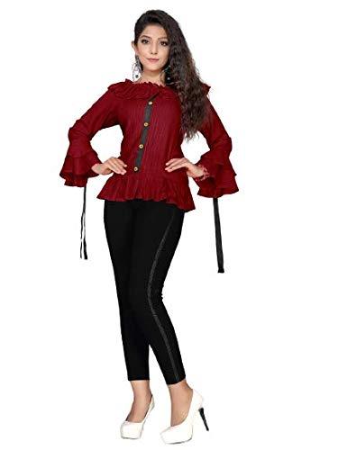 Laxmi Fashion Women Regular Rayon Top (Maroon_L)