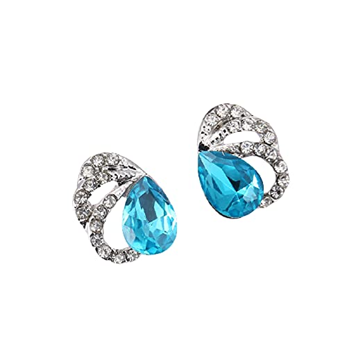 TBOP Crystal Stud Sea Blue Earrings for Women(Color May Slightly Vary)