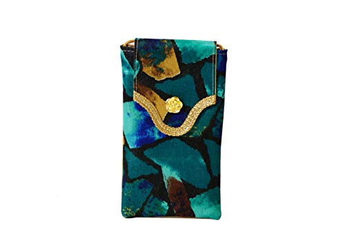 Goodwill Tech™ Traditional Silk Women's Purse Party Clutch Mobile Cover (Cream - Blue)