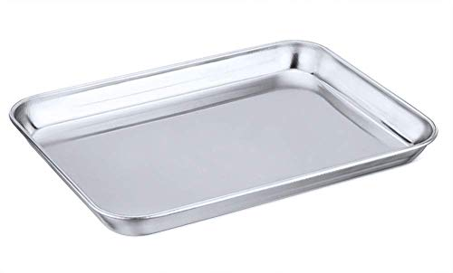JAYCO Stainless Steel Compact Toaster Oven Tray, Cookie Sheet Rectangle, Ovenware Professional Pan, 8''x10''x1''