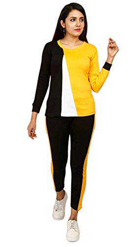 DTR FASHION Women's Yellow Half Crossed Tee with Full Sleeves Track Suit_28