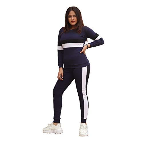Fashion Trend Blue Striped Black White Side Full Sleeve Top & Pant Leggings Tracksuit Set for (M)