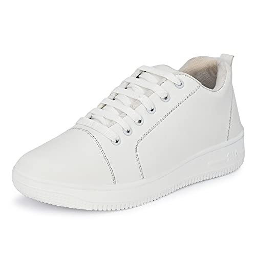 Shoe Island ® Dock-X ™ Trendy White Leatherette Trendy Modern Lace Ups Running Casual Shoes Sneakers for Men, 9 UK/India