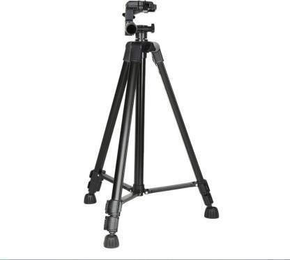 3366 Black Tripod Stand with Tilt Pan Rotating Head/Professional Aluminium Tripod 3366 Heavy Quality for Digital Camera DSLR All Smart Phone Mobile Phone Tripod (Black, Supports Up to 2000 g)