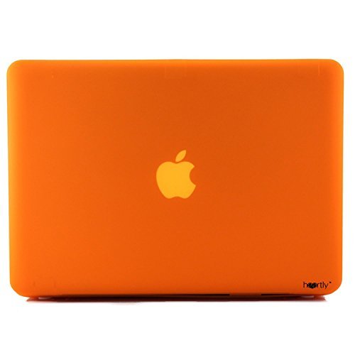"""Heartly Premium MacBook Flip Thin Hard Shell Rugged Armor Hybrid Bumper Back Case Cover for MacBook Pro 15"""" inch with Retina Display - Mobile Orange"""